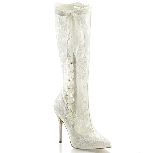 AMUSE-2012 Fabulicious Sexy Knee High Length Lace Platform Boots-Boots-Fabulicious-Footwear Fetish-Ivory Satin-Lace-Miss Hollywood Sexy Shoes