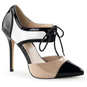 AMUSE-30 Pleaser Sexy Shoes 5 Inch Hee Platform Tri-Tone Stiletto Heel Shoes-Single Soles-Pleaser-7 uk (40 Europe - 10 Usa)-Black-White-Nude Patent-Miss Hollywood Sexy Shoes