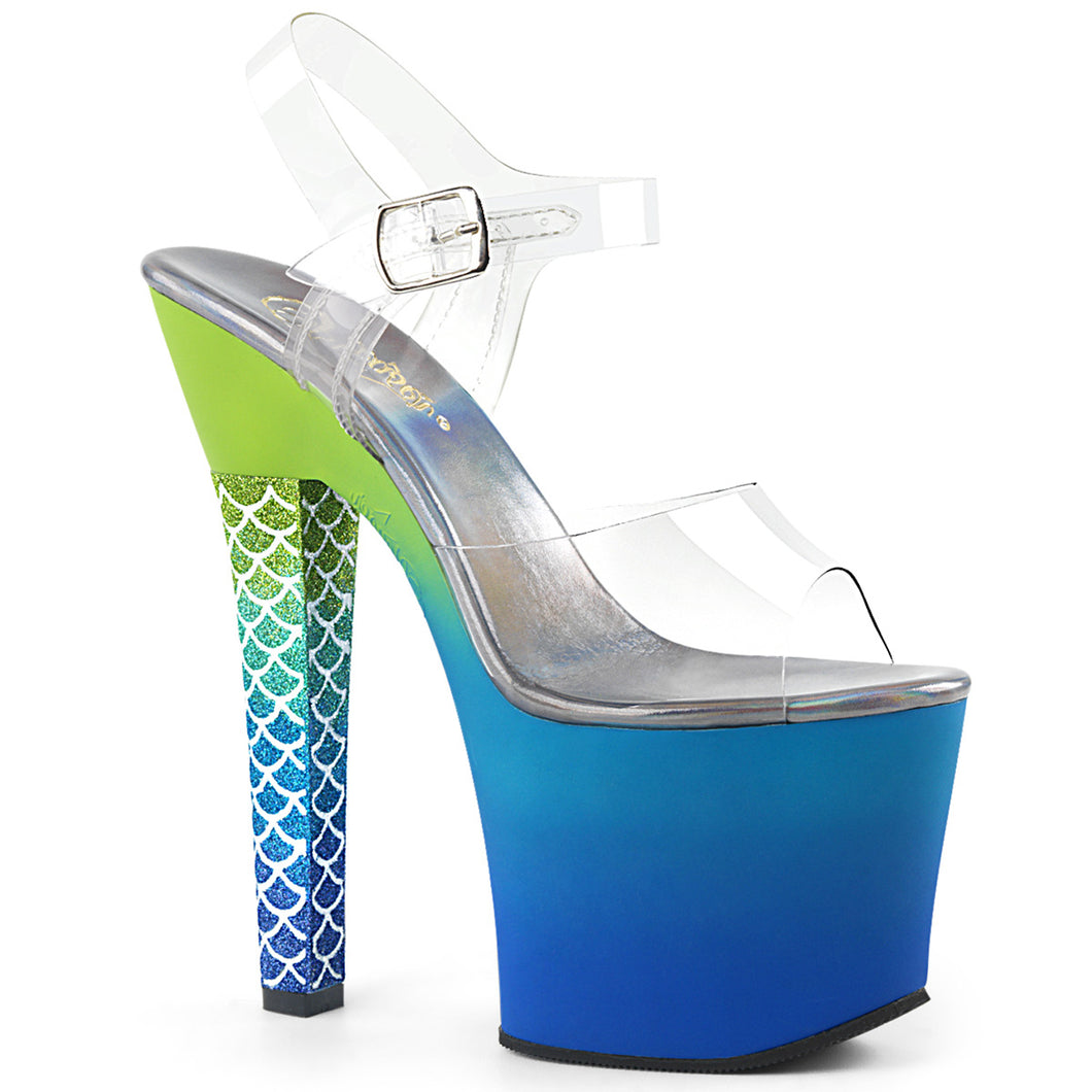 Sexy ARIEL-708OMBRE Pleaser Sexy Shoes 7 Inch Ombre Platform Ankle Strap Mermaid Style Sandals  Pleaser Pole Dancing Shoes