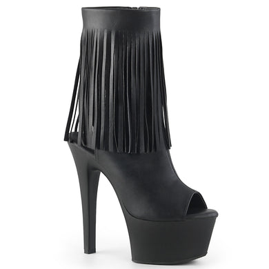 ASPIRE-1019 Sexy Fringe Ankle Boots with Peep Toes and Open Heel Backs  Pleaser Pole Dancing Shoes