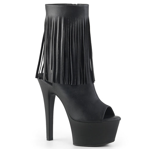 Sexy ASPIRE-1019 Sexy Fringe Ankle Boots with Peep Toes and Open Heel Backs  Pleaser Pole Dancing Shoes