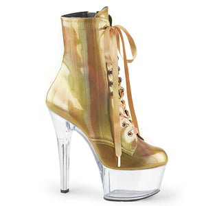 ASPIRE-1020BHG Sexy Pink Ankle Boots 7 Inch Stiletto Heel Lace-Up Platforms Holographic Ankle Boots for Pole Dancing