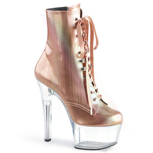 ASPIRE-1020BHG Sexy Ankle Boots 7 Inch Stiletto Heel Lace-Up Platforms Holographic Boots for Pole working