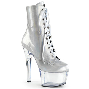 ASPIRE-1020BHG Sexy Ankle Boots 7 Inch Stiletto Heel Lace-Up Platforms Holographic Ankle Boots for Pole Dancers
