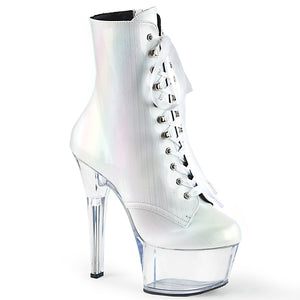 ASPIRE-1020BHG UK Supplier Sexy Ankle Boots 7 Inch Stiletto Heel Lace-Up Platforms Holographic Ankle Boots for Pole Dancing