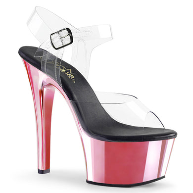 ASPIRE-608 Sexy Pole Dancing Chrome High Heel Shoes with Ankle Straps by Pleaser
