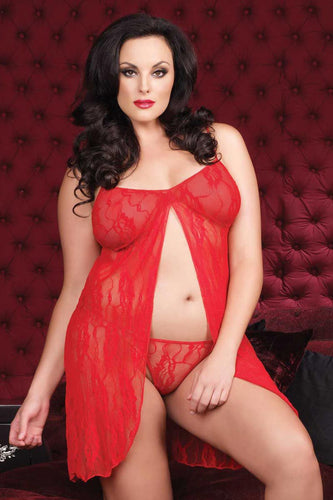 LA8782 Sexy Romantic Lace Babydoll Lingerie Set Leg Avenue-Mini Dress-Leg Avenue-Plus Size-Red-Miss Hollywood Sexy Shoes