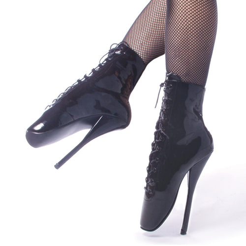 BALLET-1020 Devious Fetish Shoes 7 Inch Spike Heel Ballet Ankle Boots-Single Soles-Devious-7 uk (40 Europe - 10 Usa)-Black Patent-Miss Hollywood Sexy Shoes