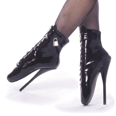 Devious   BALLET-1025 Devious Fetish Shoes 7 Inch Spike Heel Ballet Ankle Boots with  Padlock  - Sexy Shoes