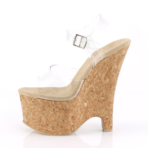 "BEAU-608 Pleasers 6.5"" Heel Clear and Tan Pole Dancer Wedges"