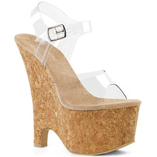 "Load image into Gallery viewer, BEAU-608 Pleasers 6.5"" Heel Clear and Tan Pole Dancer Wedges"
