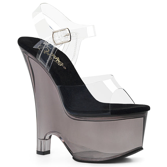 BEAU-608T Sexy Pleaser Shoes Ankle Strap Tinted Wedge High Heels