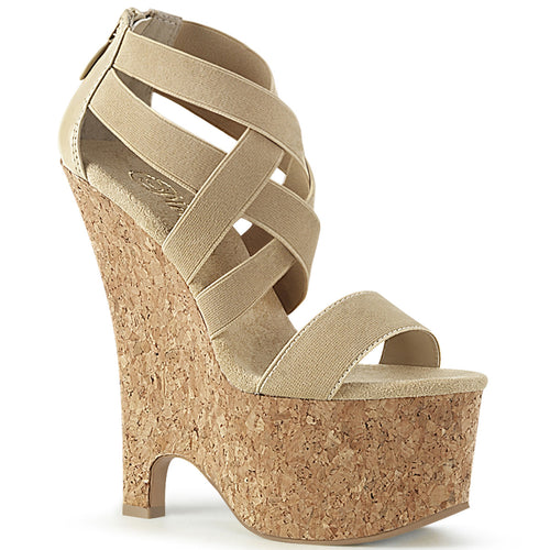 BEAU-669 6.5 Inch Heel Nude Elastic Band Pole Dancing Wedges-Pleaser- Sexy Shoes