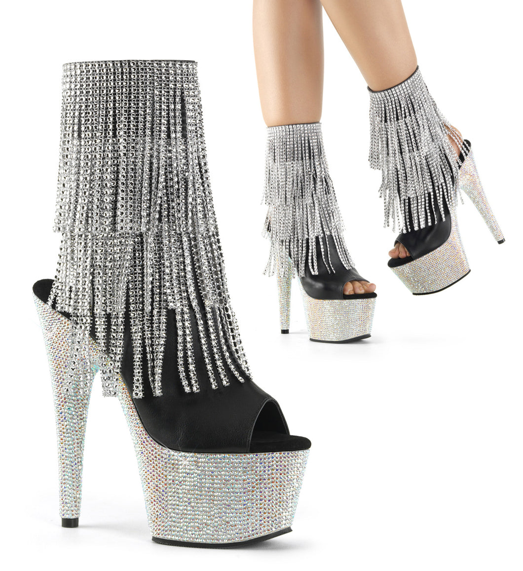 BEJEWELED-1024RSF-7 Pleaser Sexy Ankle Boots 7 Inch Heel, 2 3/4 Inch Platforms Sandals - Miss Hollywood