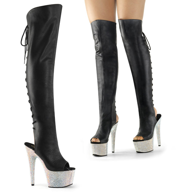 BEJEWELED-3019DM-7 Pleaser Sexy Knee High Boots 7 Inch Heel, 2 3/4 Inch Bling Platforms Sandals - Sexy Shoes