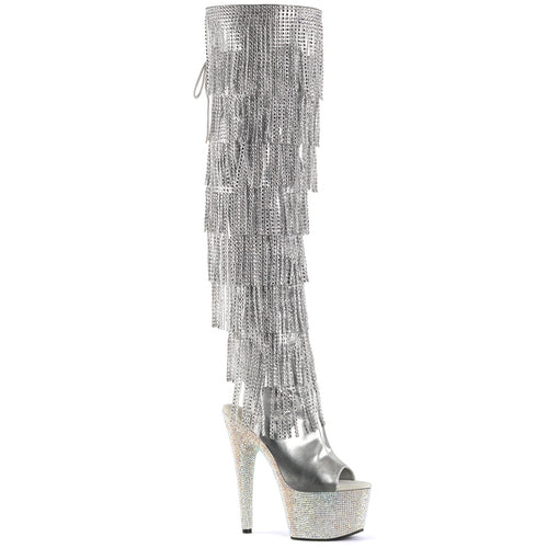 BEJEWELED-3019RSF-7 Sexy 7 Inch Heel Silver Rhinestones Boot