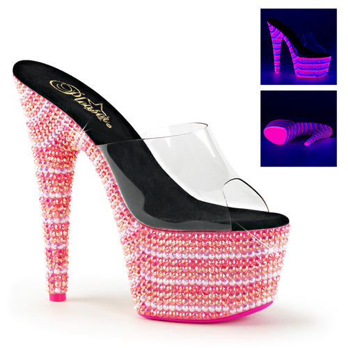 BEJEWELED-701UV Sexy 7Inch Clear Neon Multi Pink Sexy Shoes