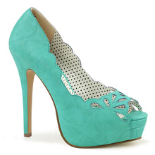 "Load image into Gallery viewer, BELLA-30 Pin Up Couture 5"" Heel Teal Faux Leather Platforms"