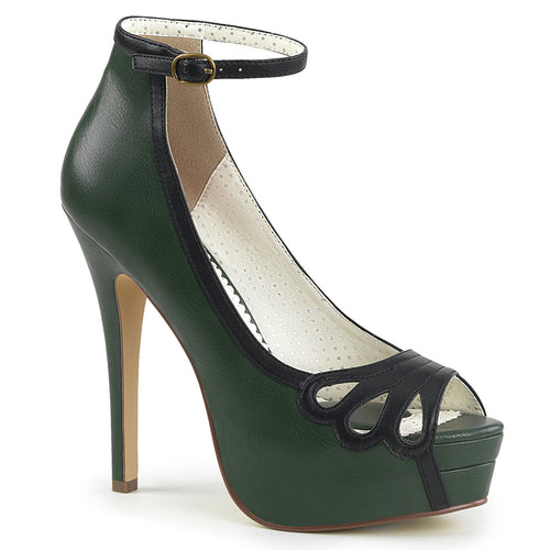 BELLA-31 Pin Up Couture 5 Inch Heel D. Green Platforms