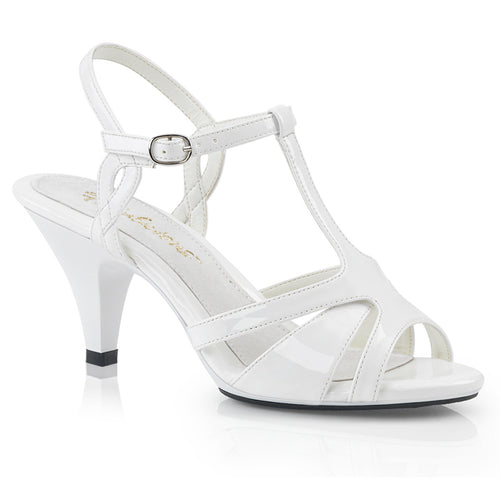 BELLE-322 White Sexy Shoes 3 Inch Heel Ankle Strap T Strap Sandals-Shoes-Fabulicious-Heels for men-Miss Hollywood Sexy Shoes