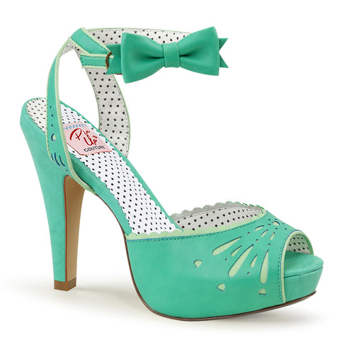BETTIE-01 Pin Up Couture Sexy 4 1/2 Inch Heel Peep Toe Ankle Wrap Sandals with Bow Detail
