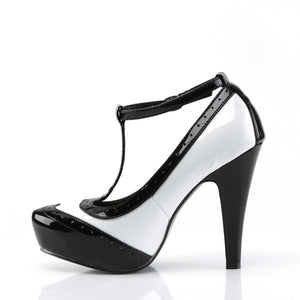 "BETTIE-22 Pin Up Glamour 4.5"" Heel Black & White Platforms"