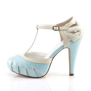 BETTIE-25 Pin Up Couture Sexy 4 1/2 Inch Heel Cut Out T-Strap Pump Stiletto Heel Shoes Blue