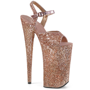 BEYOND-010LG Pleaser Sexy Shoes 10 Inch Heel Silver Glitter Ankle Strap Sandals