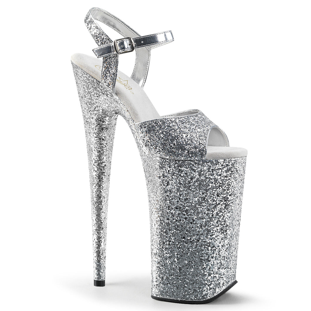 Sexy BEYOND-010LG Pleaser Sexy Shoes 10 Inch Heel Silver Glitter Ankle Strap Sandals  Pleaser - Miss Hollywood - Sexy Shoes