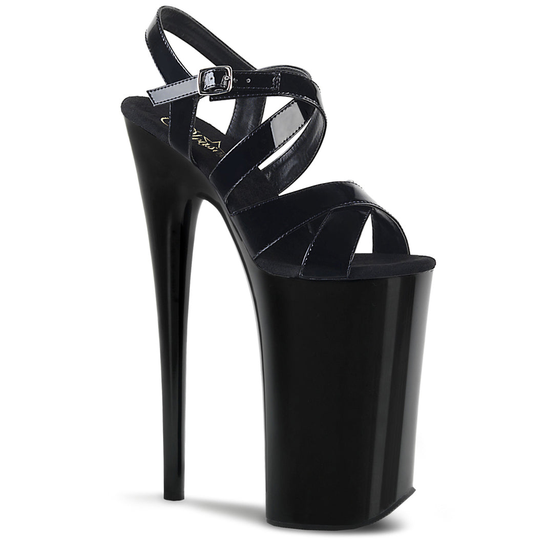 BEYOND-097 Pleaser Fetish Shoes 10 Inch Heel Platforms Criss-Cross Ankle Strap Stiletto Black