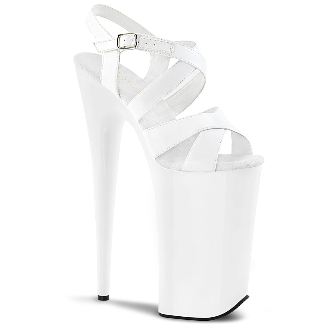 BEYOND-097 Pleaser Fetish Shoes 10 Inch Heel Platforms Criss-Cross Ankle Strap Stiletto White
