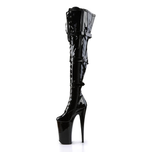 "BEYOND-3028 Sexy 10"" Heel Black Patent Strippers Boots"