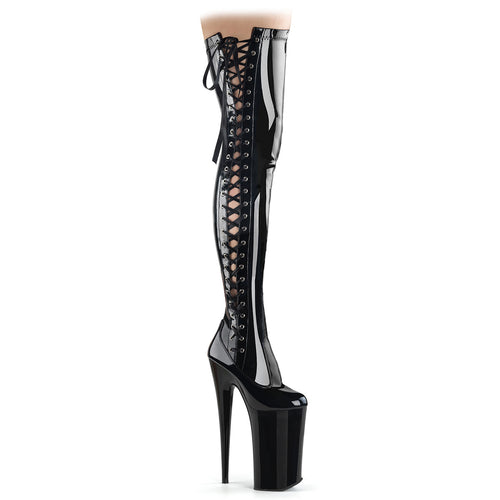 Sexy BEYOND-3050 Pleaser Sexy Shoes 10 Inch Heel Ribbon Lace-Up Thigh High Length Boots  Pleaser - Miss Hollywood - Sexy Shoes