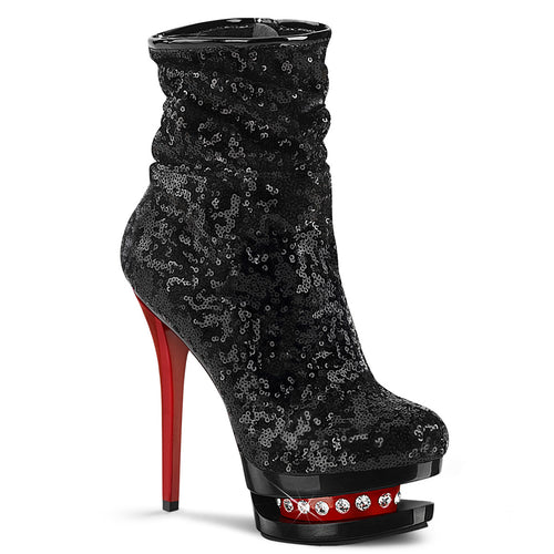 BLONDIE-R-1009 Sexy 6 Inch Black Sequins Pole Dancing Shoes