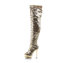 Load image into Gallery viewer, Sexy BLONDIE-R-3011 Pleaser Sexy Shoes 6 Inch Sequined Open Toe Thigh High Boots  Pleaser - Miss Hollywood - Sexy Shoes