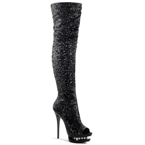 BLONDIE-R-3011 Sexy 6 Inch Black Sequins Pole Dancing Shoes