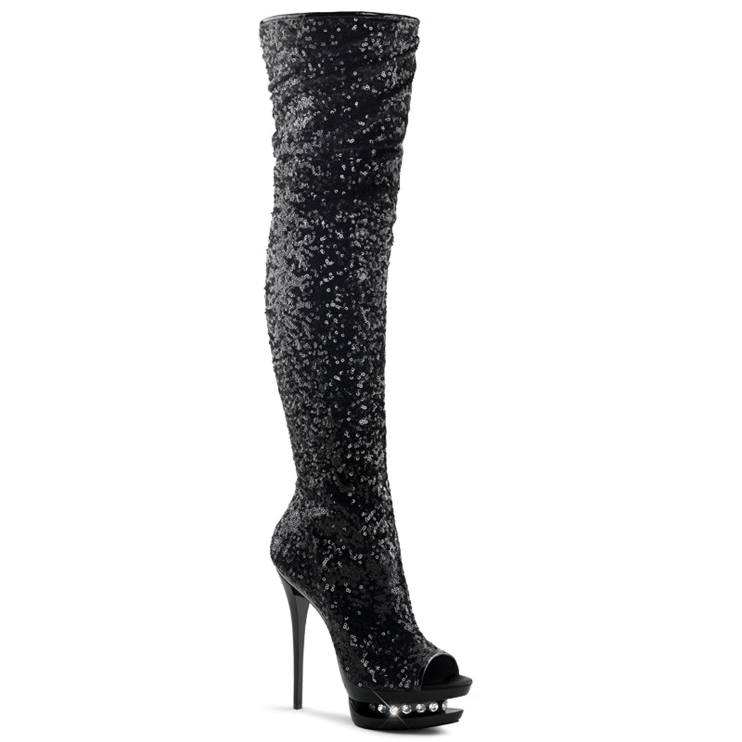 BLONDIE-R-3011 Pleaser Sexy Shoes 6 Inch Sequined Open Toe Thigh High Boots - Sexy Shoes