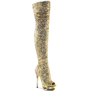 BLONDIE-R-3011 Pleaser Sexy Shoes 6 Inch Sequined Open Toe Thigh High Boots - Pleaser Shoes UK Supplier