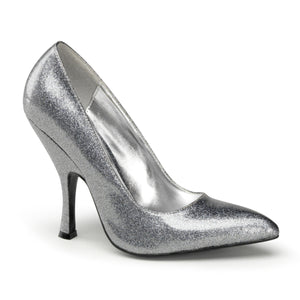 "BOMBSHELL-01G Pin Up 4.5"" Silver Pearlized Glitter Footwear"