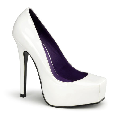 BONDAGE-01 Devious Fetish White 5 1/2 Inch Heel Square Toe Stiletto Heel Shoes-Platforms-Devious-Heels for men-Miss Hollywood Sexy Shoes