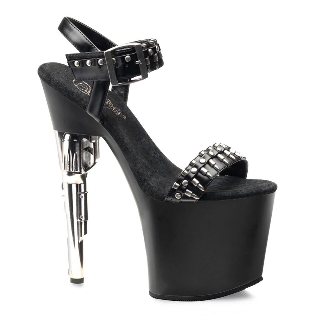 BONDGIRL-712 Pleaser Sexy Shoes 7 1/2 Inch Revolver Heel Ankle Strap Sandals with Bullet