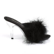 Load image into Gallery viewer, Fabulicious Shoes Fluffy Mules Marabour Slippers Sexy Lady Shoes High Heels Black Heels