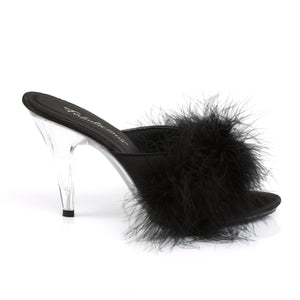 Fabulicious Shoes Fluffy Mules Marabour Slippers Sexy Lady Shoes High Heels Black Heels