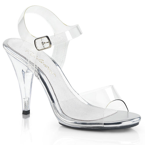 CARESS-408 Fabulicious Sexy Shoes 4 Inch Stiletto Heel Ankle Strap Sandals-Shoes-Fabulicious-Footwear Fetish-Clear/Clear-Miss Hollywood Sexy Shoes