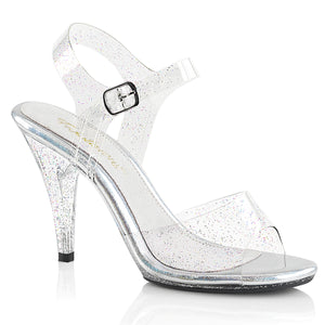 CARESS-408MMG Fabulicious Sexy Shoes 4 Inch Mini Glitter Stiletto Heel Ankle Strap Sandals