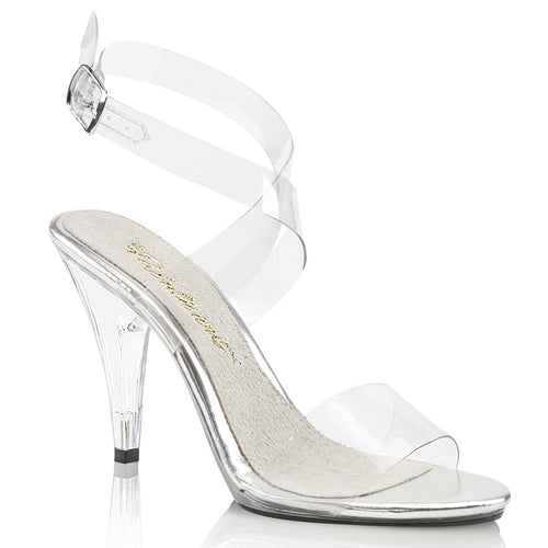 CARESS-412 Fabulicious Sexy Shoes 4 Inch Stiletto Heel Wrap Around Ankle Strap Sandals-Shoes-Fabulicious-7 uk (40 Europe - 10 Usa)-Clear/Clear-Miss Hollywood Sexy Shoes