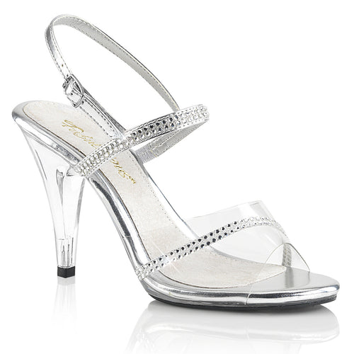 CARESS-439 Fabulicious Sexy Shoes 4 Inch Heel Slide Slip on Shoes-Shoes-Fabulicious-Footwear Fetish-Clear-Silver Metallic Pu/Clear-Miss Hollywood Sexy Shoes