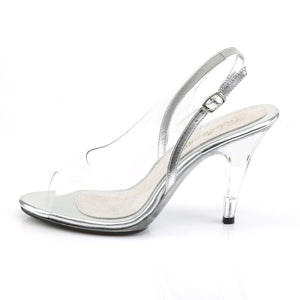 "CARESS-450 Fabulicious 4"" Heel Clear and Silver Sexy Shoes"