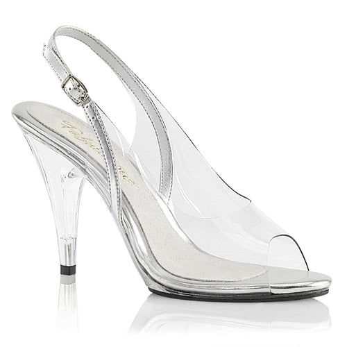 CARESS-450 Fabulicious Sexy Shoes 4 Inch Stiletto Heel Sling Back Sandals-Shoes-Fabulicious-Footwear Fetish-Clear-Silver Metallic Pu/Clear-Miss Hollywood Sexy Shoes