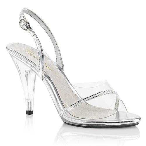 CARESS-456 Fabulicious Sexy Shoes 4 Inch Stiletto Heel Sling Back Sandals with Rhinestone-Shoes-Fabulicious-Footwear Fetish-Clear-Silver Metallic Pu/Clear-Miss Hollywood Sexy Shoes
